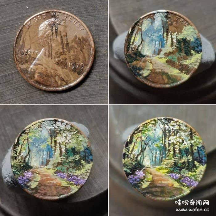 艺术家,硬币上画画,艺术品