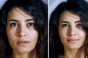 同一个人穿衣和裸体时的特写照片,你能从脸部表情猜出哪一个正一丝不挂吗?